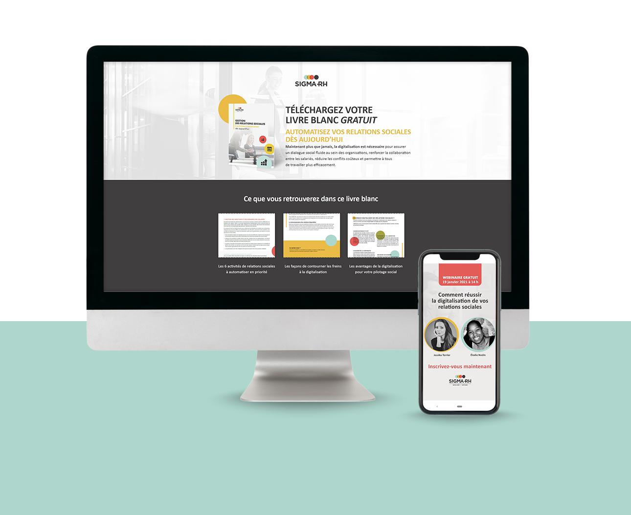 Landing page de téléchargement de la campagne SIGMA-RH
